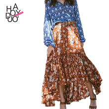 HAODUOYI Floral Print Maxi Skirts Women High Waist Female A-line Skirts Bohemian Loose Casual Ladies Skirts for Wholesale