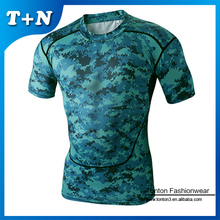 Various Fashion Camo Design Good Stretch Lycra Compression T shirts For Men