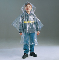 Children size disposable PE kids rain poncho within pocket