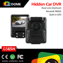 New arrival double lens car dash camera dual lens Built-in GPS car DVR with dash cam