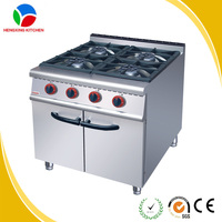 Stainless Steel Heavy Duty 4 Burner Viking Gas Cooking Range with Cabinet