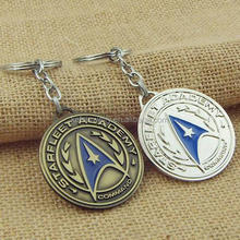 Movie Star Trek Shield Round Metal Tag Pendant Keychain