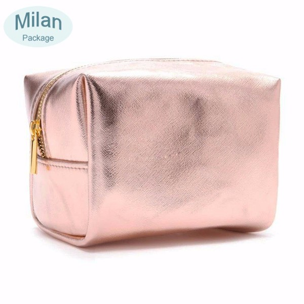 Cheap wholesale luxury metallic PU leather makeup bag