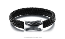 SB0815010 factory hot sell stainless steel wide leather bracelet wholesale latest fashion trends
