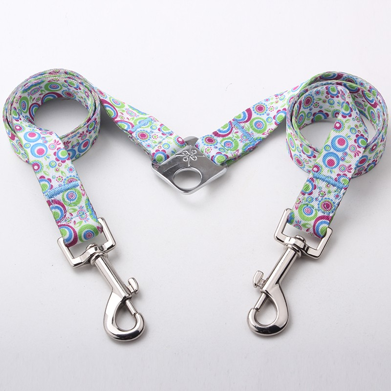China custom fashional logo polyester double dog leash in your requirement