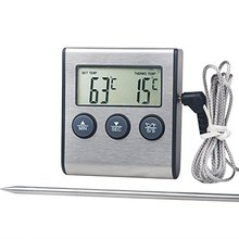 Large LCD Digital Cooking Food Meat Thermometer for Smoker Oven Kitchen BBQ Grill Thermometer Clock Timer
