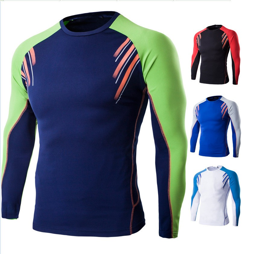 Queena New Fitness Long Sleeves Running Sports Quick-dry T Shirt For Men