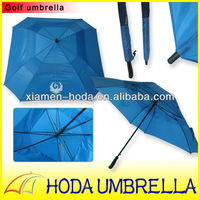 2013 Strong and Large Double Canopy Fashion Square Fiberglass Golf Umbrella