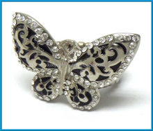 fashion zinc alloy metal filigree butterfly mens stretch ring