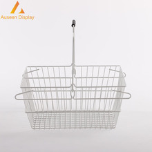 High quality wholesale price metal wire Chrome plated hanging cosmetic shopping basket for boutique