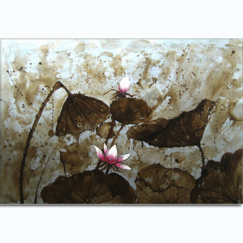 Silver lotus home decoration canvas flower oil painting