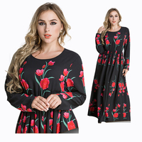 Modest Muslim Dress dubai Abaya fancy muslim women Clothing Arab printed floral dress abaya