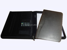 Customize A4 Leather Zipper Portfolio/File Holder with CD Holder