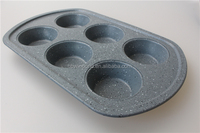 custom carbon steel metal marble enamel coating nonstick 6 cup muffin pan round