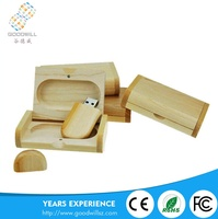Promotional Gift Custom Logo Engraved Wooden Usb Flash Drive and Box