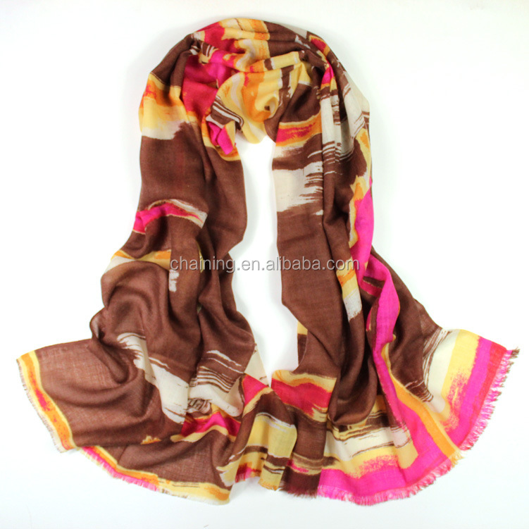 new style factory wholesale colorful printed 100% wool shawl for women