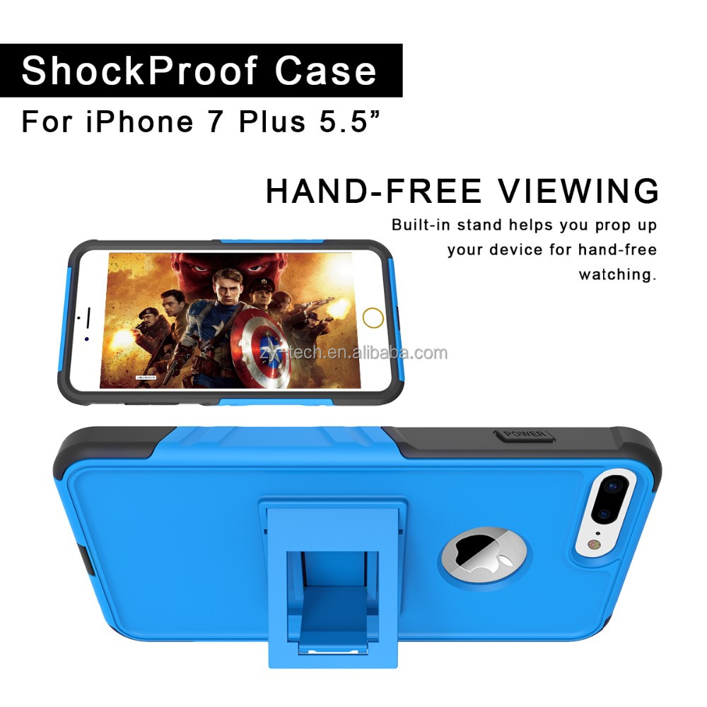 Flexible shockproof case for iphone 7 with foldable kickstand
