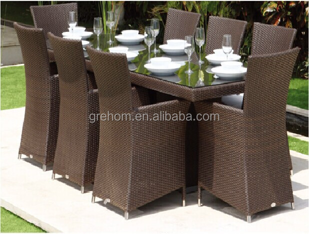 garden simple design rattan 8 seater dining table set