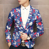 Custom New Design Flower Cotton Casual Jacket Men's Printed Blazer