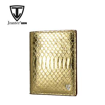 Dark Gold Custom Snake Skin Leather Women Wallet