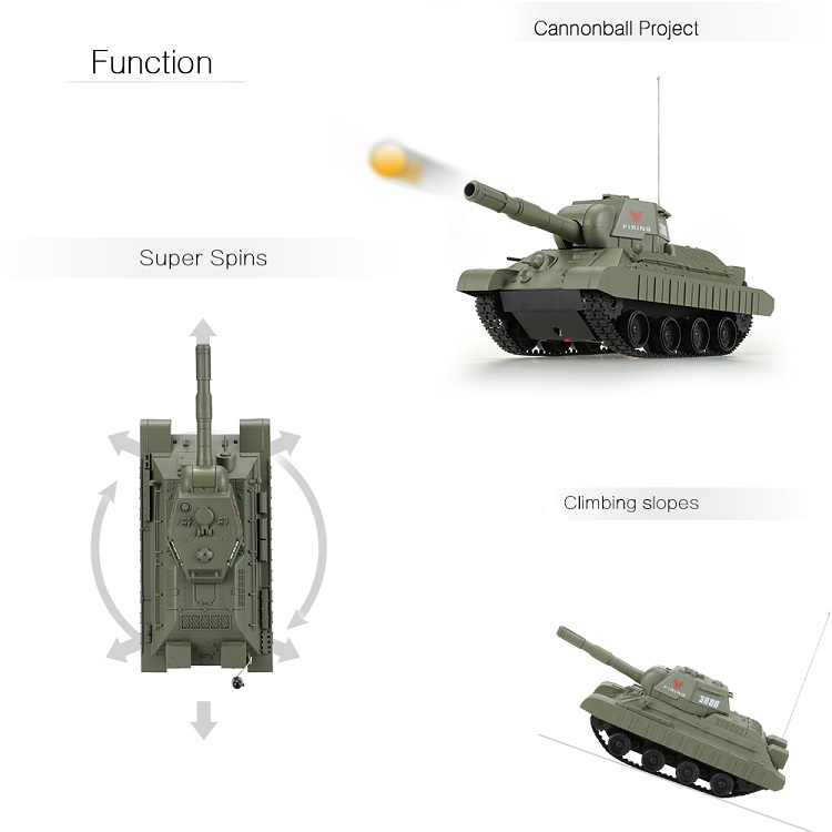 Flytec New Arrival 3886 27MHz 1 / 30 Fire Ball Bullet RC Battle Tank Cannonball Shooting Tanks Toys For Kids