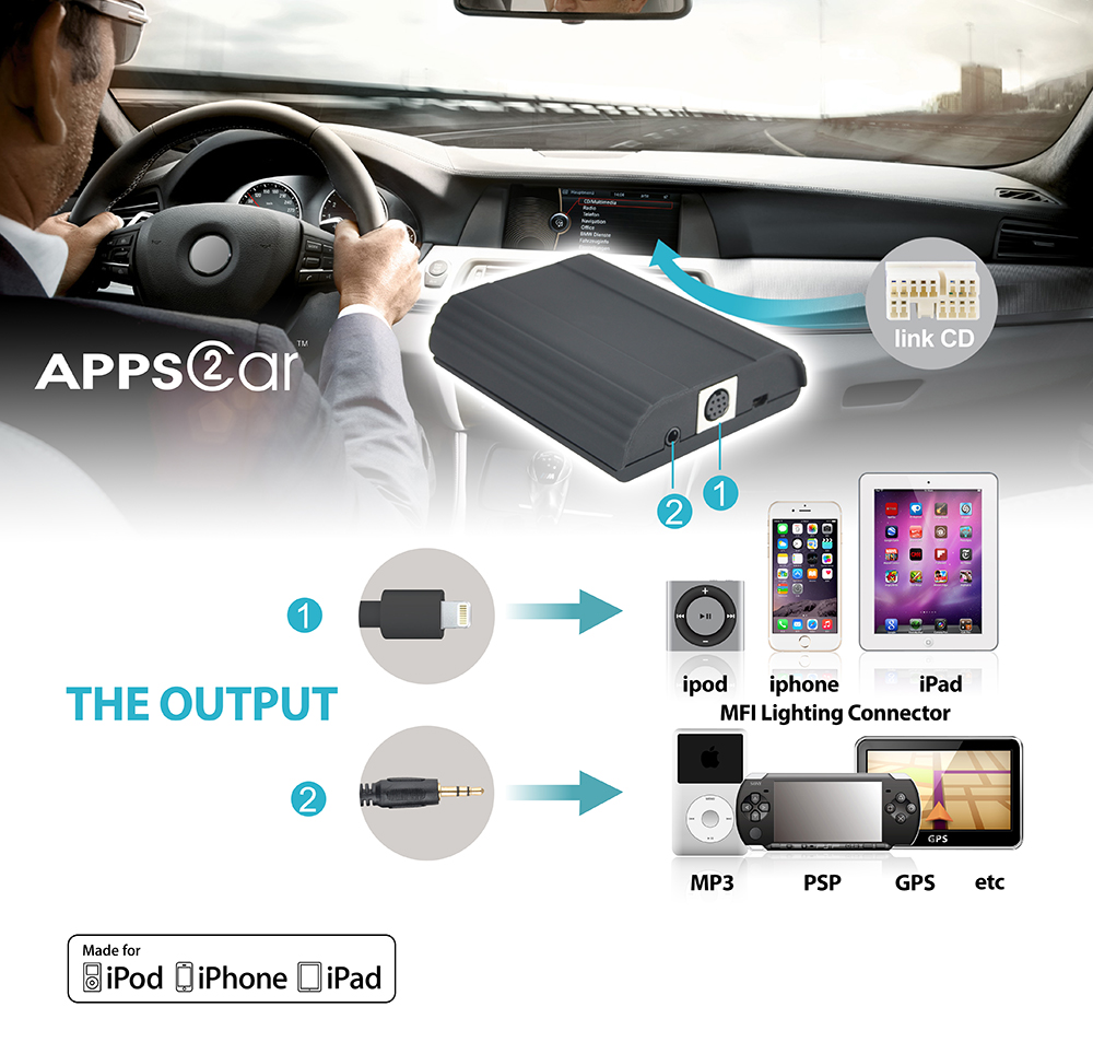 Dongguan Car Original MP3 Player For iPhone 5 6,chargeable with MFi Lightning Connector Car Digital Music Interface
