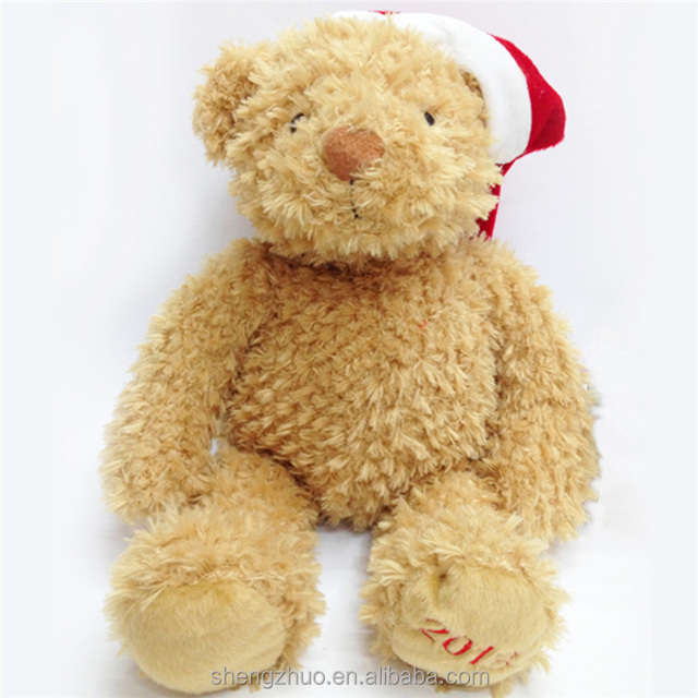 Custom Plush gummy bear keychain plush keychain bear with christmas hat