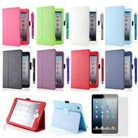 Magnetic Stand Folio PU Leather Smart Cover Wake/Sleep Case For iPad Mini