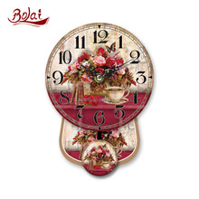 Red flowers and coffee design round shaped old pendulum clocks
