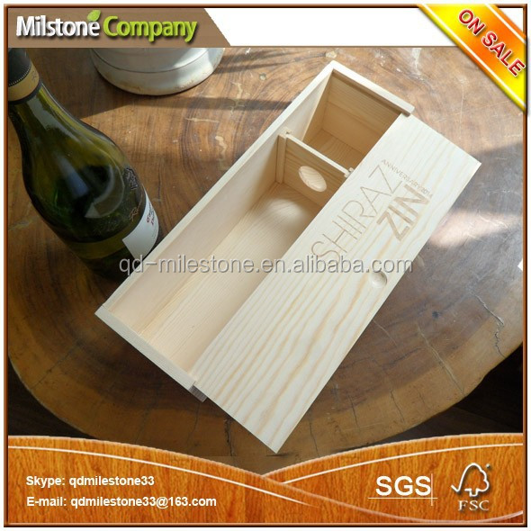 Unfinished Handmade Single Wine Bottle Cheap Wooden Wine Boxes for Sale