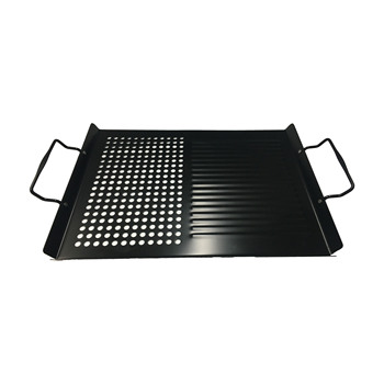 Customization BBQ 1.2mm Rectangle Non stick,Stainless Steel in Black Vegetable Grilling Pan,Basket with holes on one side