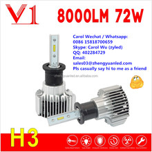 Hug Brilliant Bright 8000 lumen 72W h1 h3 zy led high power led auto lamp h7 bulb h4 led headlight bulb pk l7 cr .ee r4 xhp50 G6