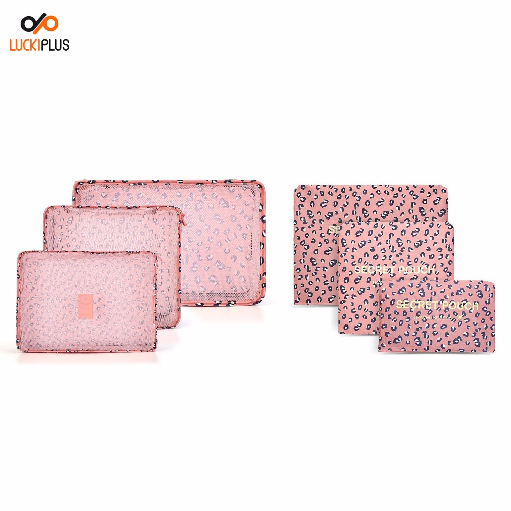 Luckipus Luggage Packing Cubes Travel Organizer Mesh Bags 6 Piece Various Size Set-3 Packing Cubes and 3 Pouches Pink Leopard