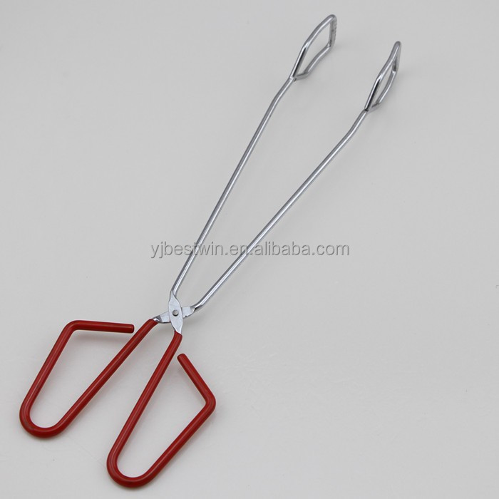 Red Rubber Handle Scissor Food Serving Tongs/ BBQ Tongs