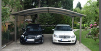 2 cars modern aluminum curved car shelter