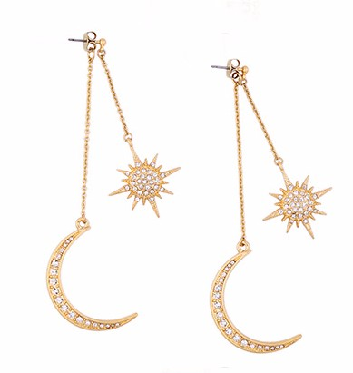 Golden Sun Moon earrings, latest design sun and moon earrings, latest moon and star earrings for women