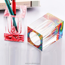 Colorful Crystal Pen Holder, Pencil Vase for Office Decoration and Gift
