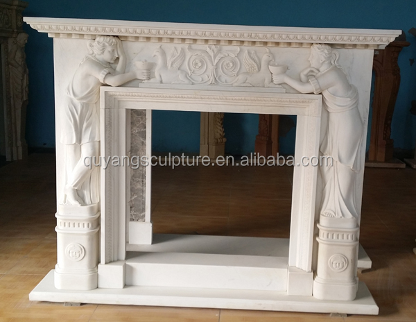 Hand Carved Artificial Marble Fireplace Surround