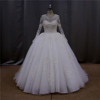 Heavey beading lace deep v neck wedding dress lace