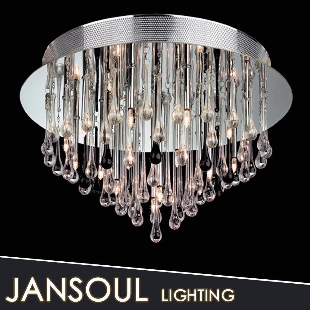 Diningroom lamp metal rings chrome hanging crystal drops ceiling light