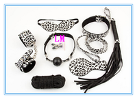japan poron girls sex toy for man woman leopard bondage leather set 8