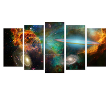 5 Panels HD Printed Starry Sky Night Canvas Painting Nebula Space Painting for Living Room Big Size/SJMT1881
