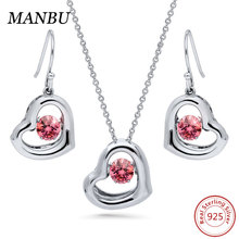 925 sterling silver dancing stone pendant jewelry set