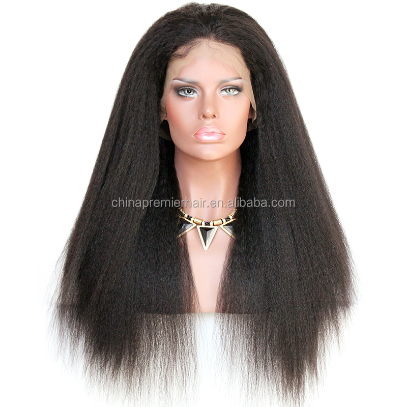 Lace Front Wig Can Wear High Ponytail Italian Yaki 100% Indian Remy Human Hair 360 Lace Frontal Wig