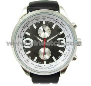 High quality alloy case world time watch silicone wristband watches men
