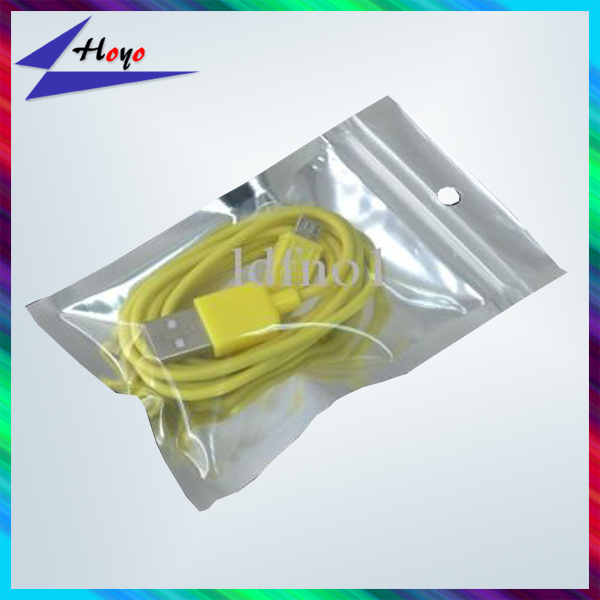 small aluminum foil zip lock bags with hang hole for data line