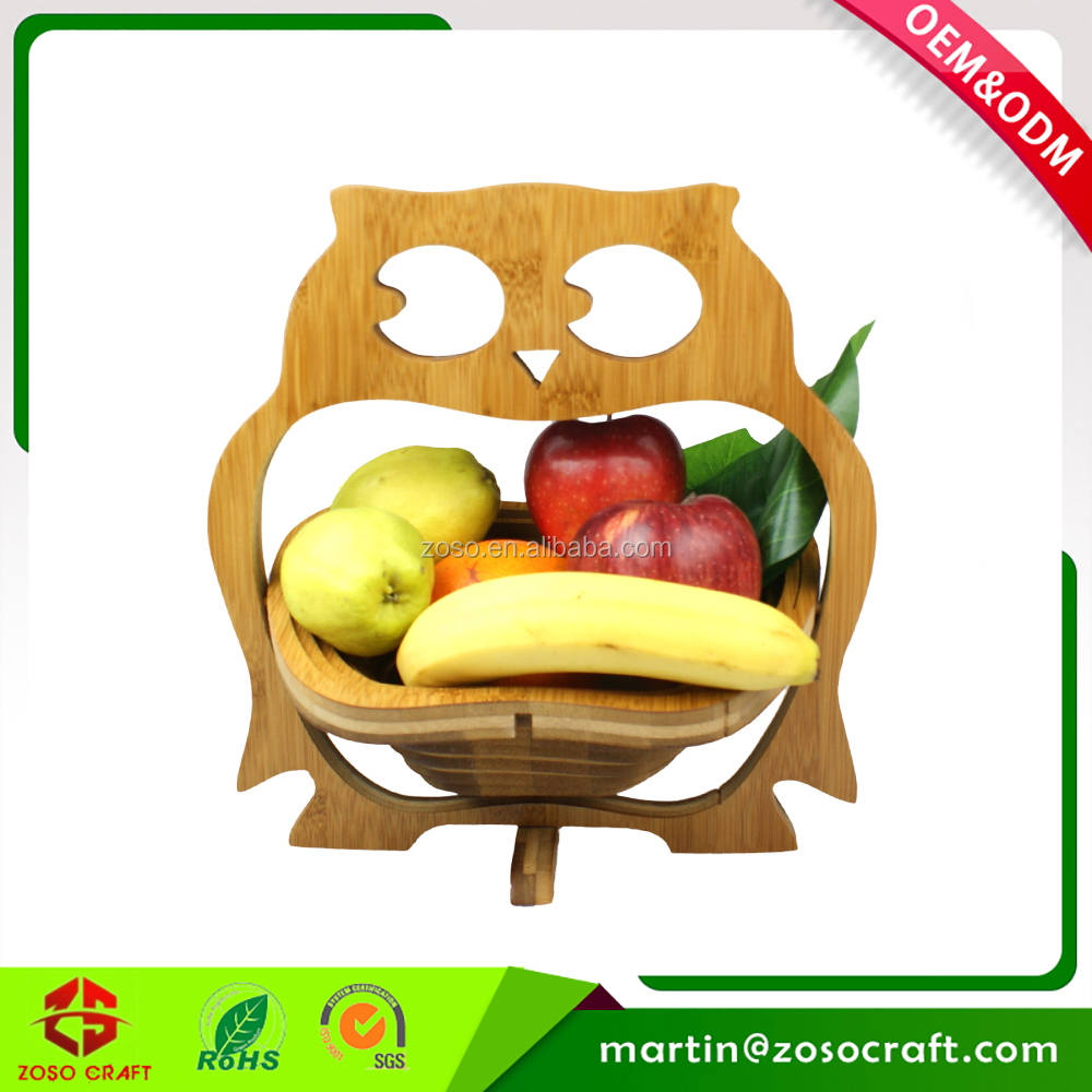 Owl Shaped Empty Wooden Picnic Basket for Fruit and Vegetable