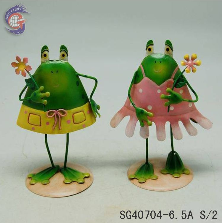 metal frogs crafts for home decorations