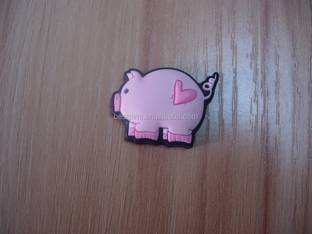 Animal Doll Pink Cute Pig 3D Rubber Pendant Charms for Kids