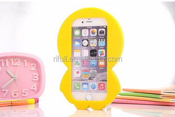 3D yellow duck design silicone mobile phone protective casing for iphone 6 /6s